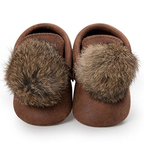 BZLine® Baby Girl Ball Quasten Sneaker Anti-Slip Schuhe Krippe Schuhe Kaffee