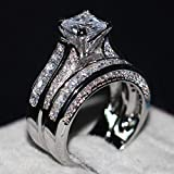 2-in-1 Womens Vintage White Diamond Silver