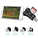 Trail Camera Viewer ,Hunting Camera Card Reader for iPhone iPad Mac Android Phones, Micro SD Memory Card Adapter