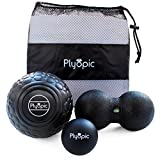 Plyopic Deep Tissue Massage Ball Set - Includes Rubber, Peanut and Foam Roller Massager Balls | For Myofascial Release, Trigger Point Relief and Mobility Therapy. Eliminate Muscle Pain: Back Neck Legs
