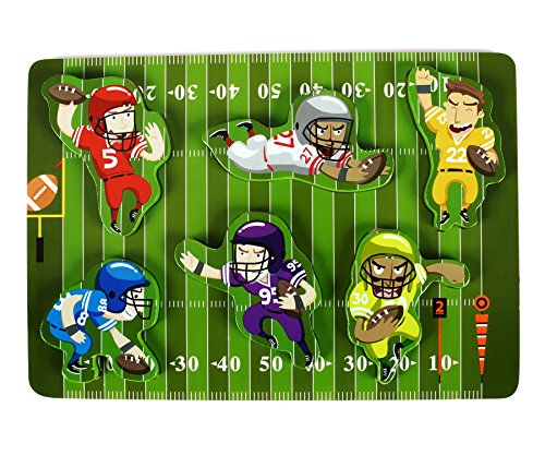 Fun & Unique Football Sport Chunky Wooden Puzzle for Toddlers, Preschool Age Kids w/