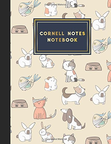 Cornell Notes Notebook: Cornell Method Notebook, Cornell Note Taking System Book, Note Taking Notebook, Cute Veterinary Animals Cover, 8.5
