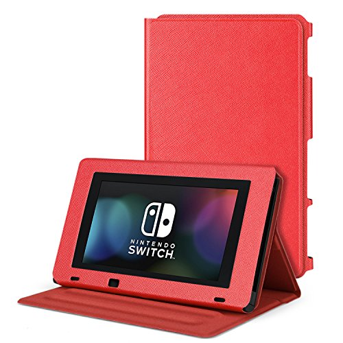 TNP Nintendo Switch Protective Case Portable Play Stand - Adjustable Desktop Flip Multi-Angled View Stand Cover Holder w/ Premium PU Leather Skin Slim Fit For Switch Console Tablet (Red)