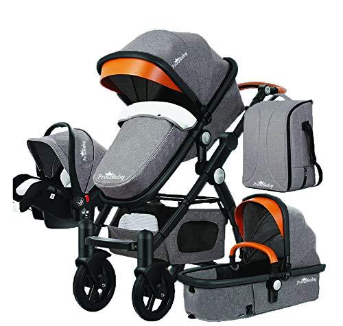 PrinzBaby Stroller/Bassinet + Car Seat - Baby Diaper Bag (Black Frame)