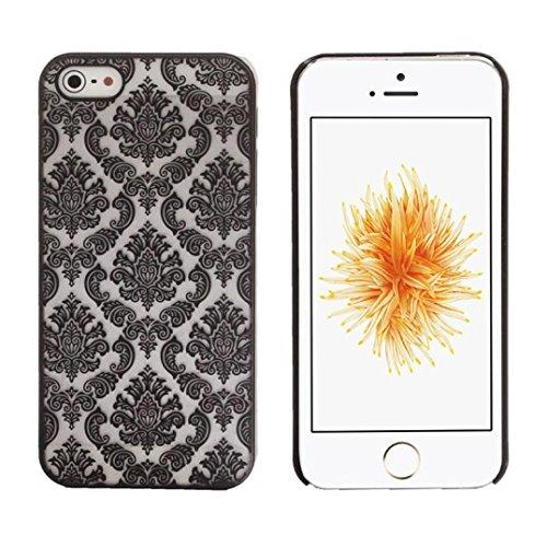 GBSELL Carved Damask Vintage Pattern Matte Hard Case Cover For IPhone 5 5S SE (Black )