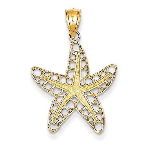 Poli et texturé 14 Carats Pendentif étoile de mer-JewelryWeb
