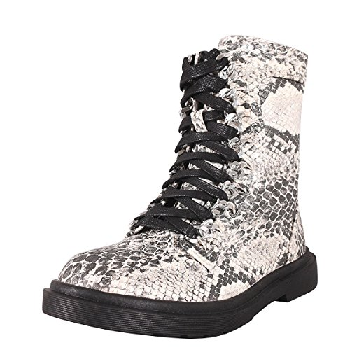CAPE ROBBIN Womens Round Toe Silver Chain Lace Up Hi-Top Military Combat Flat Ankle Boot Booties Snake q5cRL