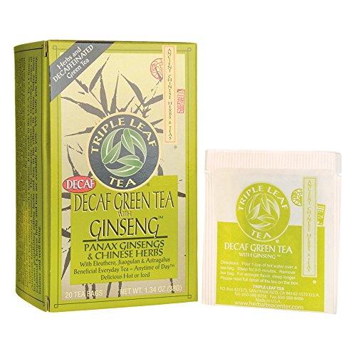 (Green Tea-No Caffeine with Ginseng & Chinese Herbs Triple Leaf Tea 20 Bag)