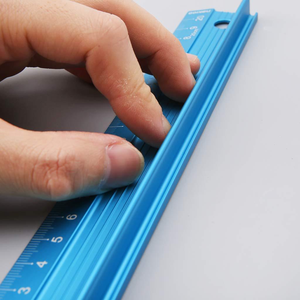 in lega di alluminio professionale righello di protezione dritto Righello da taglio utensile da disegno 20//30//45 cm 45CM blu