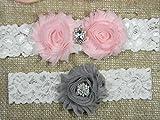 Pink and Silver Gray Clear Oval Crystal Garter, Wedding Garter Set, Bridal Garter Belt, Keepsake and Toss Stretch Lace Garters