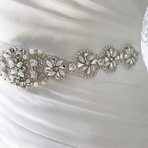 QueenDream Iridescent Rhinestone Belt Pearl Bridal Belt Light Ivory Wedding sash Wedding Bride sash by QueenDream (Image #2)