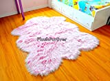 SC Love Collections Nursery Pink White Chubby Sheepskin Mongolian Frost Fur Nonslip Suede Backing Faux Fur Throw Rugs (5' x 6' feet)