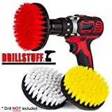 upholstery brush soft - quick change shaft-3 Piece Soft, Medium and Stiff Power Scrubbing Brush Drill Attachment for Cleaning Showers, Tubs, Bathrooms, Tile, Grout, Carpet, Tires, Boats by DrillStuff