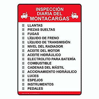 ComplianceSigns Vertical Plastic Inspección Diaria Del Montacargas Sign, 10 X 7 in. with Spanish