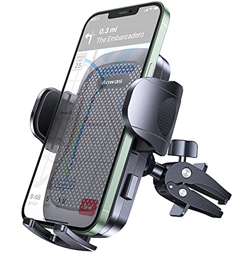"Anwas Car Phone Holder [Ultra Sturdy Screw-Locking] Cell Phone Mount for Car Air Vent [Big Phone and Thick Cases Friendly] Phone Cradle Fit ,Compatible 4.0""-6.8"" Smart Phone"
