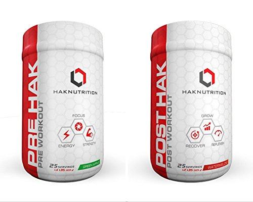 HAK Nutrition, Pre Hak - Pre Workout/ Post Workout Supplement, 2 pack (Green Apple & Watermelon)