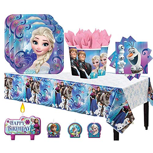 Frozen Birthday Party Pack for 16 with Plates, Napkins, Cups, Tablecover, and Candles -