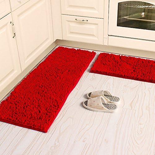Ustide Sofe Shaggy Chenille Rug 2-Piece Kitchen Rug Set Red Wedding Room  Rugs Non-Slip Absorbent Floor Mat Carpet