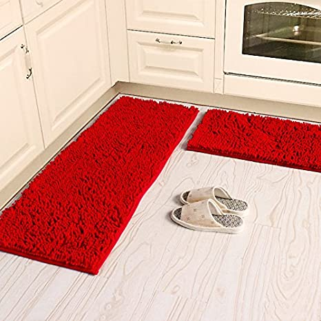 Ustide Sofe Shaggy Chenille Rug 2-Piece Kitchen Rug Set Red Wedding Room  Rugs Non-Slip Absorbent Floor Mat Carpet