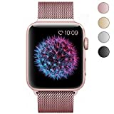 BRG 38mm Stainless Steel Mesh Milanese Loop with Adjustable Magnetic Closure Replacement iWatch Band for Apple Watch Series 2 Series 1 Nike+ Sport Edition Rose Gold