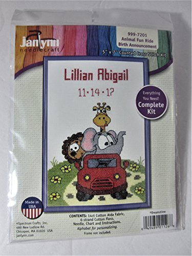 - Janlynn Counted Cross Stitch Kit #999-7201 ANIMAL FUN RIDE BIRTH ANNOUNCEMENT