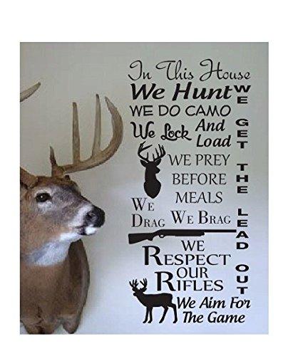Susie85Electra Hunting Quote Wall Sign Vinyl Decal Sticker In This House We Hunt Camo Deer Duck Rifle Gun Load Ammo Shotgun Buck Doe Den Mancave Horns Big