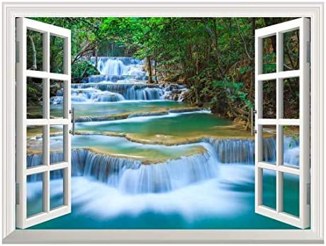 Removable Wall Sticker/Wall Mural - Beautiful Landscape of Deep Forest Waterfall inThailand | Creative Window View Home Decor/Wall Decor - 24