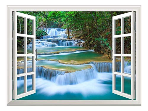 Removable Wall Sticker Wall Mural Beautiful Landscape of Deep Forest Waterfall inThailand Creative Window View Wall Decor