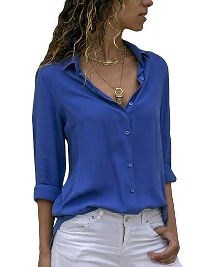 0b5eede0a4e1f5 Minetom Damen Bluse Chiffon Elegant Langarm Oberteile Einfarbig V-Ausschnitt  Hemdbluse Casual Hemd Lose Asymmetrisch T-Shirt Top  Amazon.de  Bekleidung