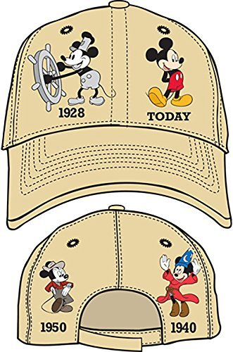 Disney Mickey Mouse Adult History Baseball Cap Khaki (Disney Clothing For Adults)