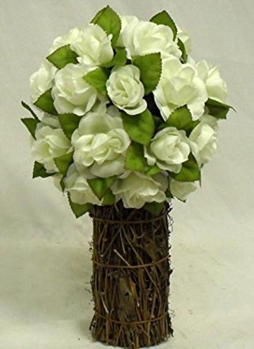 iary Wedding Bouquet Silk Artificial Flower Centerpiece (Ivory Rose Topiary)