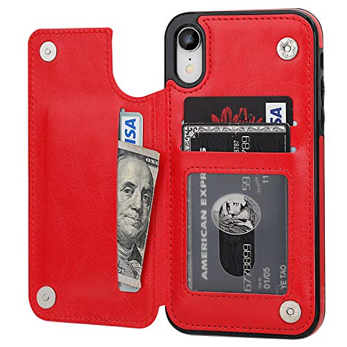 OT ONETOP iPhone XR Wallet Case with Card Holder, Premium PU Leather Kickstand Card Slots Case,Double Magnetic Clasp and Durable Shockproof Cover for iPhone XR 6.1 Inch(Red)