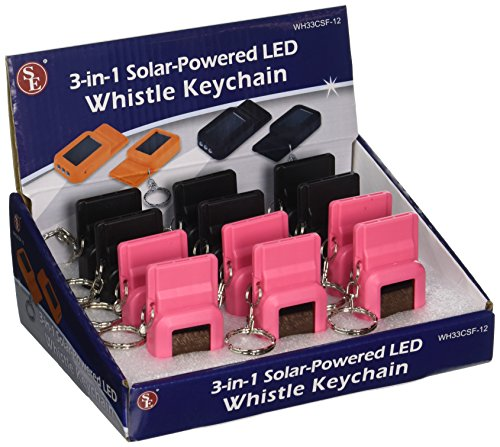 SE WH33CSF-12 3-In-1 Solar Powered LED Whistle with Keych...