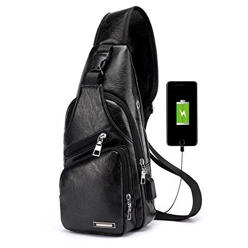 Pawaca - Bolso bandolera para hombre, piel sintética, con puerto USB, para negocios, senderismo, viajes, Negro, 1