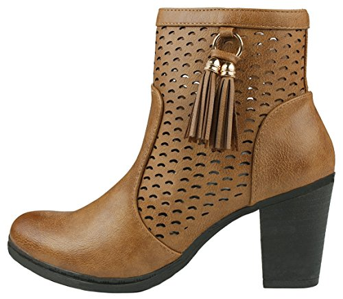Leather Braid Faux Boots Tassel Ankle Stacked Side Chunky Heel Suede Cut Zip Decor Women Tan Out wHBSY4Iwq