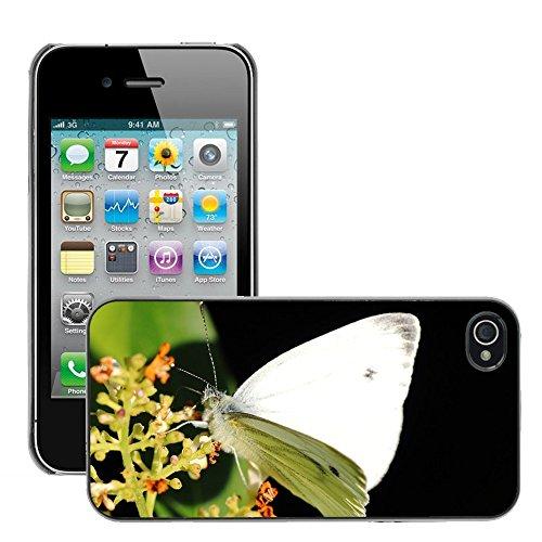 Bild Hart Handy Schwarz Schutz Case Cover Schale Etui // M00135197 Weiß Ling Schmetterling Schmetterlinge // Apple iPhone 4 4S 4G