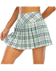LEAZEAL Plaid Tennis Skirt for Women Pleated Tennis Skirts High Waisted with Pockets Womens Goft Skirt Athletic Skort