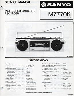 service manual for sanyo m7770k mini stereo cassette recorder sanyo rh amazon com Club Car Golf Cart Manual Golf Cart Engine Repair Manual