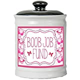 Cottage Creek Gifts for Women Funny Decorative Jar Boob Job Fund Piggy Bank Round Boob Ceramic Coin Bank/Funny Breast Gifts [White]