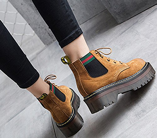 Round Toe Cool Heels Aisun Mid Mid Combat Yellow Boots Chunky Top Booties Women's Iw6WSqA