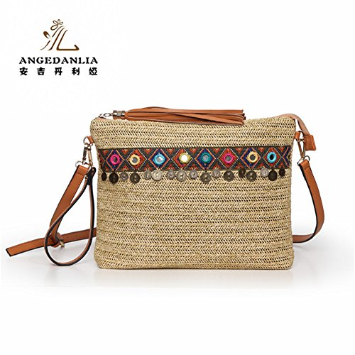 Straw Bag Tote – Angedanlia Woman Handmade Purse Summer Beach Woven Shoulder Bag 3694 (Beige)