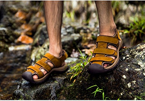 Minitoo ,  Herren Durchgängies Plateau Sandalen mit Keilabsatz Braun
