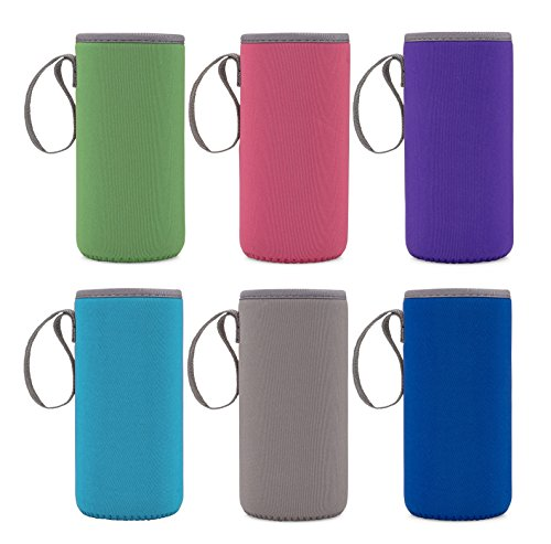 Neoprene Glass Water Bottle Sleeves - Vibrant Color 6-Pack of Protective Holders 16-18 oz Capacity - Insulating Carriers Keep Your Drink Cool or Hot Longer - For Smoothies and Juices on the Go