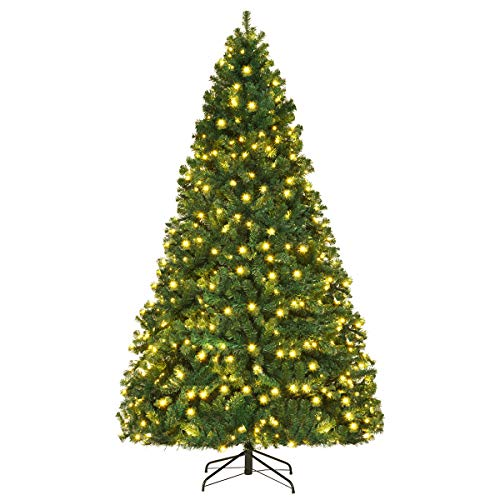 Goplus Pre-Lit Artificial Christmas Tree, Premium Hinged Spruce Tree, with LED Lights and Metal Stand, Easy Assemble, Perfect Xmas Decor for Home, Office and School (8 FT)