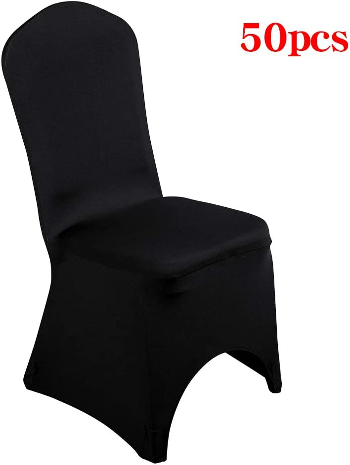 Desirable Life Pack of 50 Universal Spandex Stretch Banquet Wedding Party Dining Chair Covers (Black/Arched Front, 50)