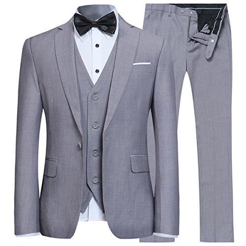 Men's Slim Fit 3 Piece Suit One Button Blazer Tux Vest & Trousers Light Grey -