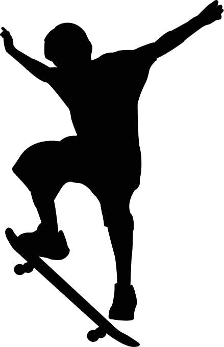 Sports silhouette wall decals boy skateboard 2 silhouette 12 inch removable graphic