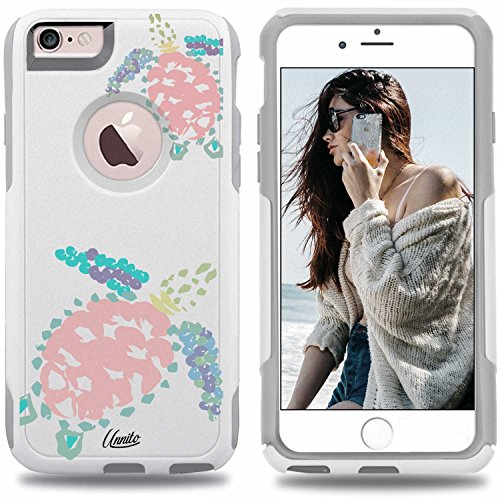 Unnito iPhone 6 Plus Case - Hybrid Commuter Case   Slim Cover with Hard Shell Design and Soft Inner Layer Compatible with iPhone 6S Plus White Case - Kona Sea Turtles