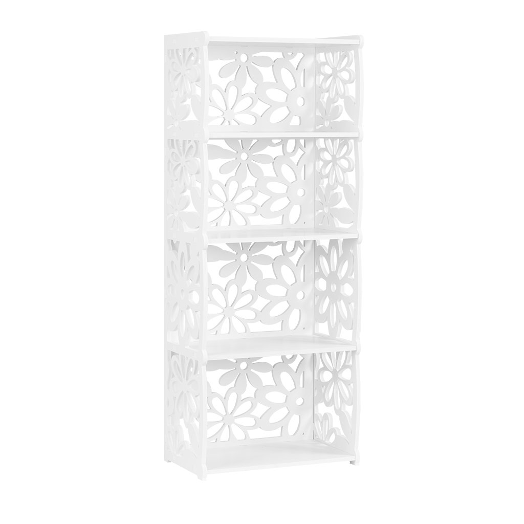Finether 4-Shelf Shelving Unit, Modular Flower Cut-Out White Wooden Plastic Composite 4 Tier Shelving Unit Storage Shelf Bookcase Display Shelf for Shoes Books Toys Bedroom Living Room Kitchen Office