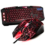 Qisan(TM) Wrangler Gaming Mice (4 Colors) + Avenger Gaming Keyboard(7 Colors) USB Wired Combo Set